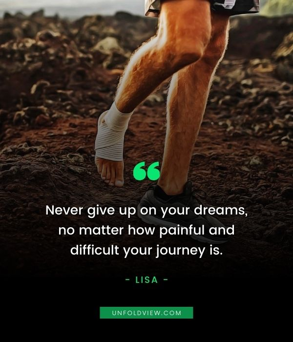 never give up quotes pain Lisa